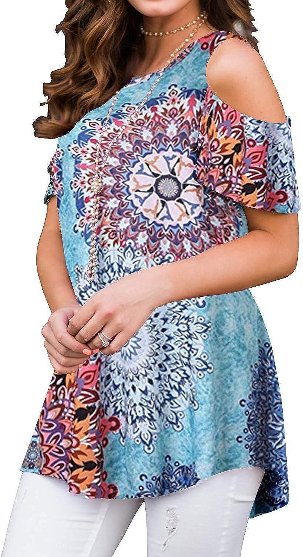 Tanst Sky Womens Cold Shoulder Shirt Round Neck Short Sleeve Summer Tunics Tops
