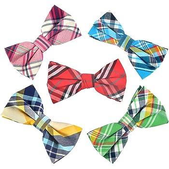OUMUS Men's Pre-tied Bow Ties Adjustable Length Plaid Collection Bowtie for Men & Boys & Adult & Children 5 Pack