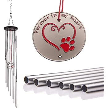 "Popvip Pet Memorial Wind Chime, Large 36"" Silver Aluminium Remembrance Wind Chime, Pet Loss Gifts, Cat & Dog Memorial Gifts for Garden & Home"
