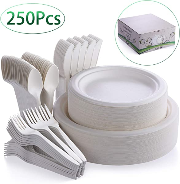 Fuyit 250Pcs Disposable Dinnerware Set Compostable Sugarcane Cutlery Eco Friendly Tableware Includes Biodegradable Paper Plates Forks Knives And Spoons Combo For Party Camping Picnic White