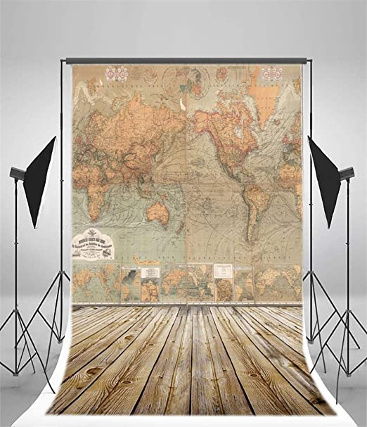 10x15 FT Photo Backdrops,Geography Theme Grunge Vintage Wooden Plank and Africa Map Digital Print Background for Baby Shower Bridal Wedding Studio Photography Pictures Tan Umber and Brown