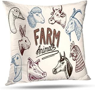Soopat Decorative Throw Pillow Cover Square Cushion 16 x 16 Inch Farm Animals Head Horse Pig Goat Cow Llama Rabbit Sheep Signboard Menu Home Decor Pillowcase
