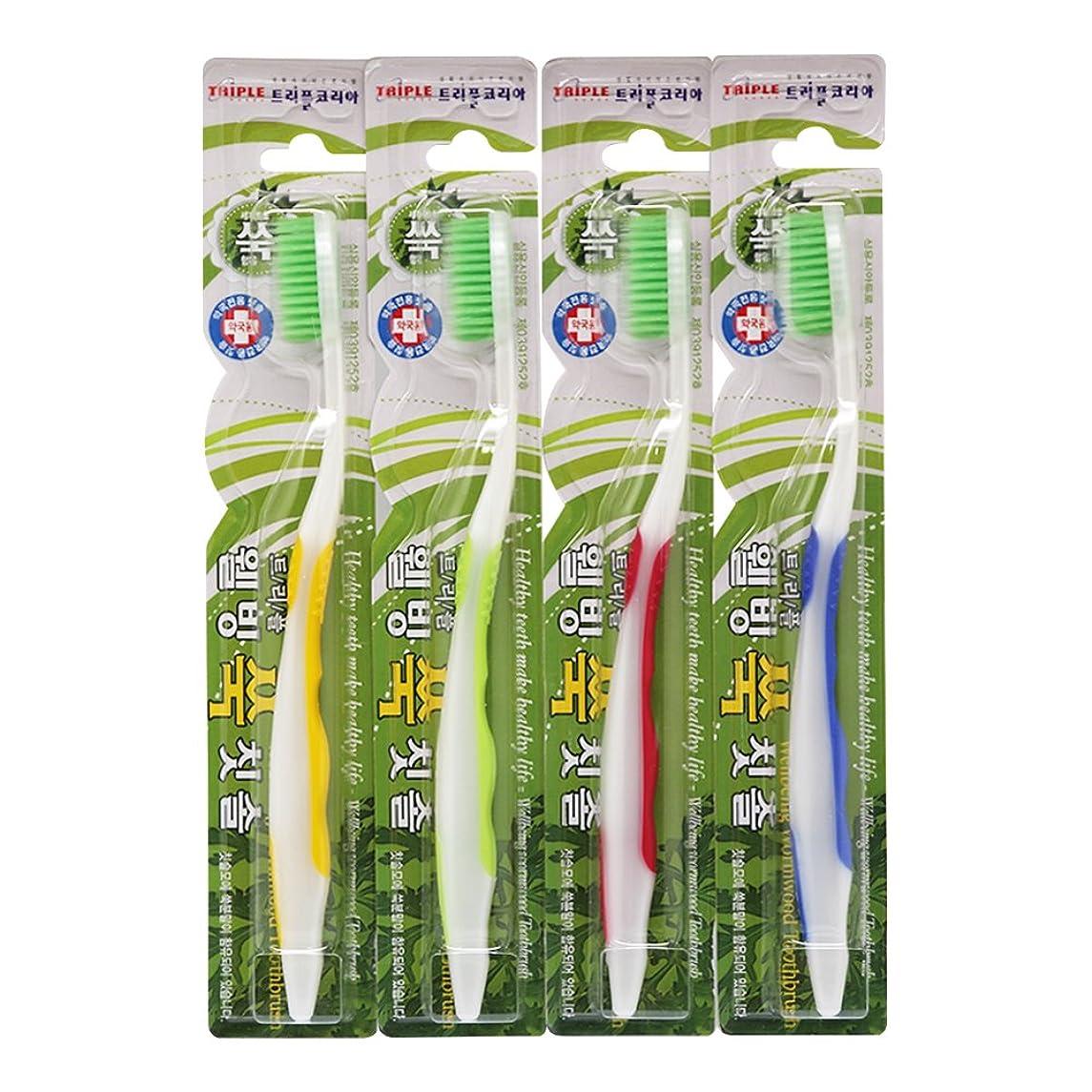 サイトライン温度計ハンマーTRIPLE KOREA ウェルビーイングよもぎグ歯ブラシ4本セット よもぎ成分配合 極細毛 抗菌毛