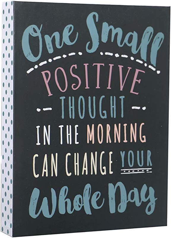 SANY DAYO HOME Desktop 6 X 8 Inches Wood Box Signs With Inspirational Saying For Desk And Wall Decor One Small Positive Thought In The Morning Can Change Your Whole Day