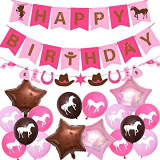 Western Cowgirl Party Decorations Horse Birthday Party Supplies for Girls with Cowgirl Garland Happy Birthday Banner Pink Latex Balloons