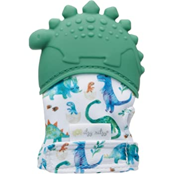 Itzy Ritzy Silicone Teething Mitt – Soothing Infant Teething Mitten with Adjustable Strap, Crinkle Sound and Textured Silicone to Soothe Sore and Swollen Gums, Dinosaur