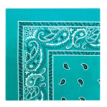 Paisley Cotton Bandana (Teal 22 x 22 IN)