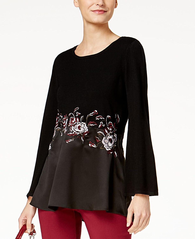 Alfani Womens Contrast Knit Sweater