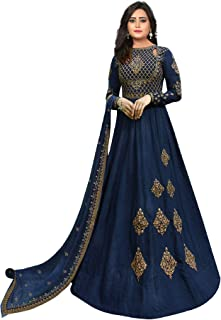 Fashion Basket Womens Anarkali Embroidered Semi Stitched Salwar suit