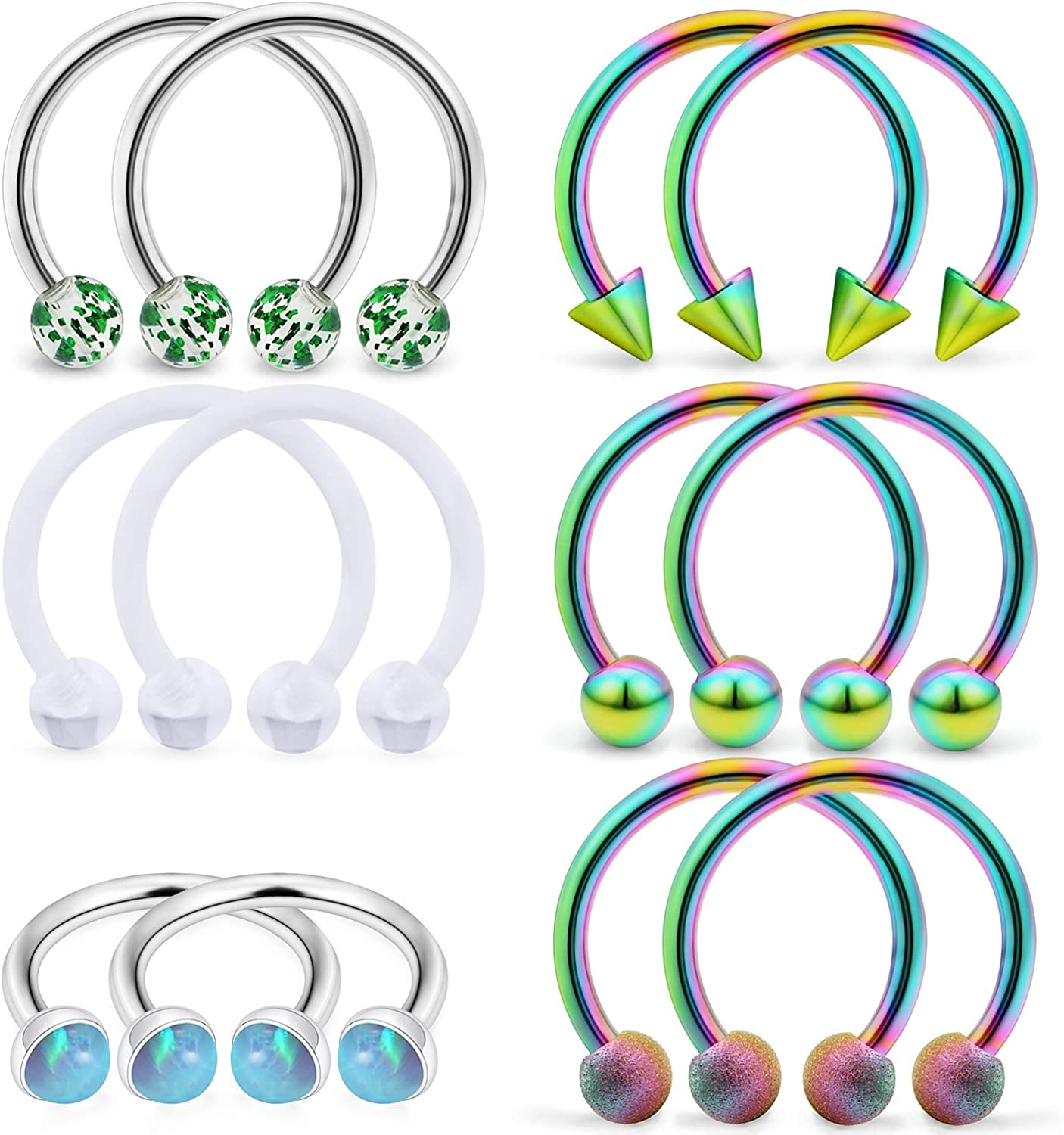SCERRING 6 Pairs 16G Stainless Steel Horseshoe Septum Ring Nose Rings Hoop Helix Daith Cartilage Tragus Earrings Lip Body Piercing Jewelry Opal 8mm 10mm