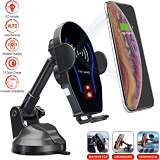 MOOOOOK Wireless Car Charger   LED Lights Auto Clamping Car Phone Mount   Dashboard Windshield Air Vent Mount 3 in 1 Car Holder   Compatible with iPhone, Samsung, Huawei, LG and All Qi Enabled Device