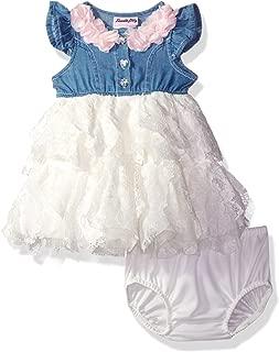 Nannette 女童连衣裙,两层花瓣荷叶边和内裤