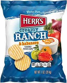 Herr's Creamy Ranch & Habanero Potato Chips 1 oz Bags - Pack of 42
