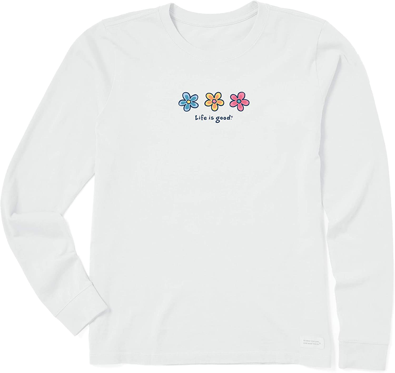 Life is Good Women's Crusher Graphic Long Sleeve T-Shirt Three Daisies