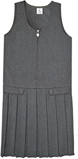Girls School Uniform Heart Zip & Button Flap All Round Pleated Pinafore Dress Age 2-14 Years