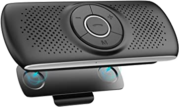 Kit Mains Libres pour Voiture Bluetooth 5.0 Haut-Parleur Micro Intégré avec Clip Support du GPS, Musique Slot Carte TF Reconnexion Automatique, Enceinte Voiture Brise-Soleil IOS Siri&Assistant Google
