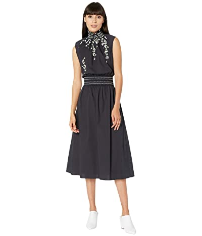 Adam Lippes Sleeveless Smocked Waist Dress (Lily Black) Women