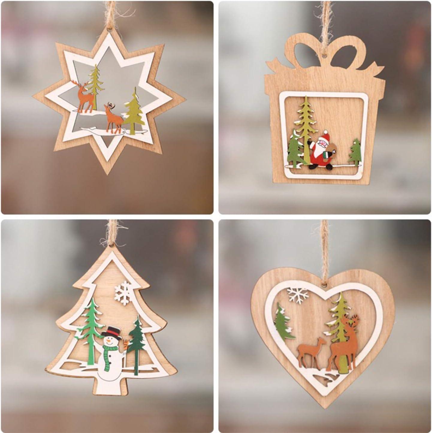 ACERANK Our shop most popular Christmas Decoration Flat Regular store Single Wooden Laser Piece Holl