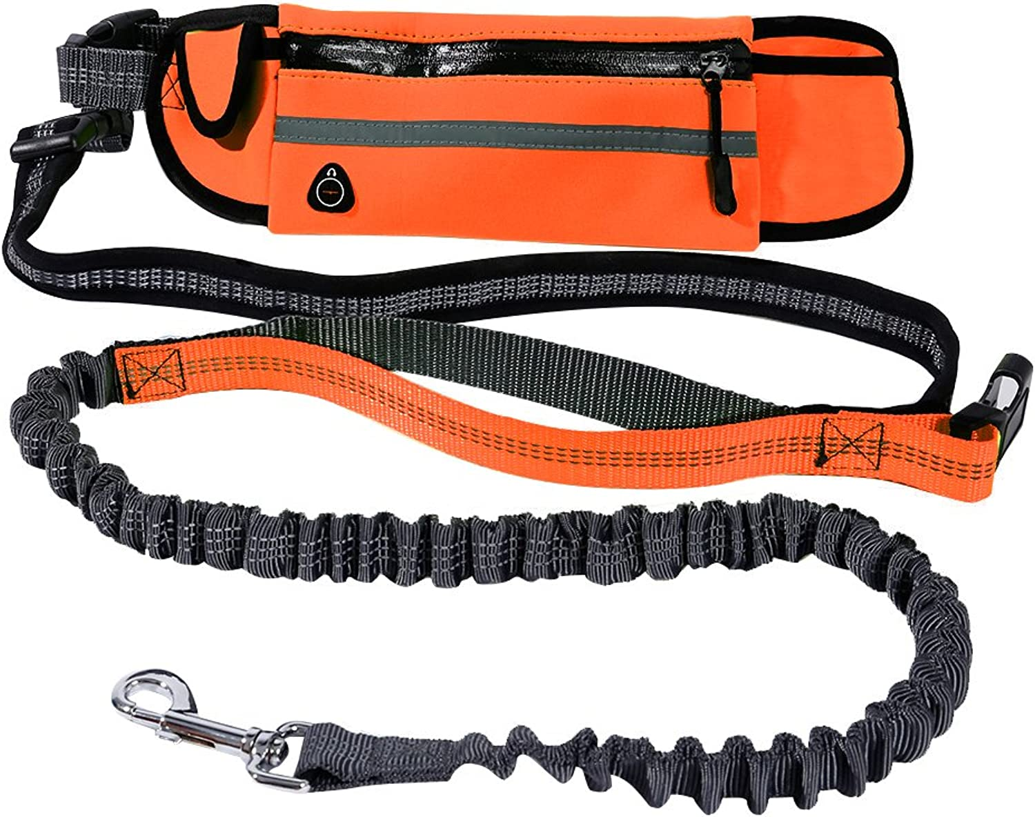 Hands Free Dog Leash by Lennystone  Adjustable Leash and Belt for Running and Walking with Retractable Reflective Bungee cord and Pockets