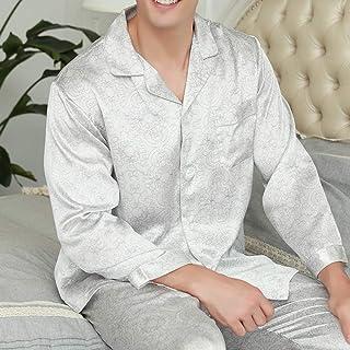 DRGE Herr mullbärssilke pyjamas ny tvådelad kostym sommar tunn kortärmad tryckt herr hemservice