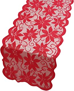 """MKLFBT Christmas Table Runner with Red Leaves Lace Festival Table Runner Christmas Table Decoration for Parties & Gatherings Dresser Scarves 100% Polyester 13"""" X 72"""""""