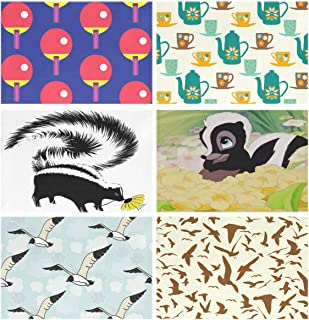 YOULUCK-7 Placemats Set of 6, Table Tennis Ping Pong (11) Teapot (30) Skunk Fox (1) (2) Seagull (50) (31) Dining Table Mats for Home Kitchen Office