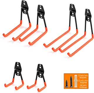 Ihomepark Heavy Duty Garage Storage Utility Hooks for Ladders & Tools, Wall Mount Garage Hanger & Organizer - Tool Holder U Hook with Anti-Slip Coating (6 Pack - Orange)