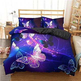 XTiFound Sängkläder Påslakan 3 Stycken 3D-Utskrift Fantasi Stjärnhimmel Djur Fjärilar Mjukt Och Bekvämt Mikrofiber Allergi...