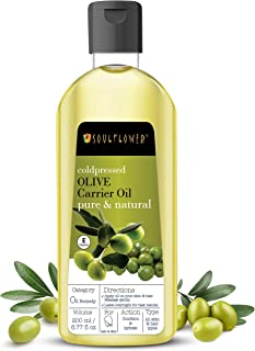 Soulflower Olive Carrier Oil for Hair Growth, Moisturizing Skin, Makeup Primer, Face, Lips & Nails - 100% Pure, Organic, N...