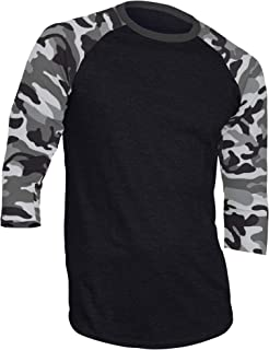 DREAM USA Men's Casual 3/4 Sleeve Baseball Tshirt Raglan Jersey Shirt Black/Lt Gray Camo XL