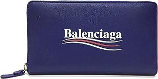 [バレンシアガ] BALENCIAGA 3色ロゴ メンズ ラウンドファスナー 長財布 516362 DLQ9N 4610 レザー ブルー [並行輸入品]