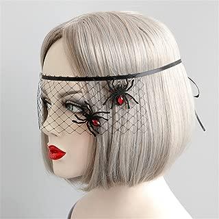 Halloween Women Sexy Black Lace Gauze Spider Snowflake Mask Headband Hair Bands Makeup Prom Party Elegant Headwear