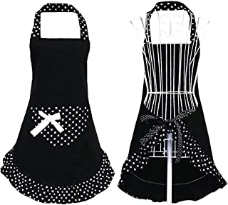 Hyzrz Cute Girls Bowknot Funny Aprons Lady's Kitchen Restaurant Women's Cake Apron with Pocket (Black)