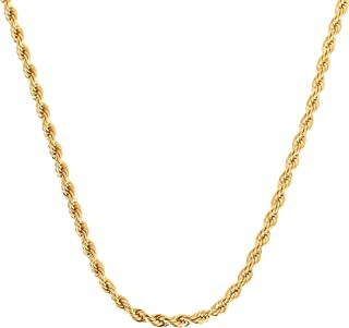 Lady Opa Jewelry - 1 mm Yellow Gold-Plated Rope Necklace with Lobster Claw Clasp - Layered with Pure 24K Gold over a Semi-...