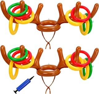 Balhvit 18Pcs Inflatable Reindeer Antler Ring Toss Game, Christmas Games for Kids Adults, Indoor Outdoor Xmas Party Games ...