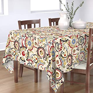 Roostery Tablecloth, Desert Palette Walkabout Dreamtime Indigenous Australians Pointillism Aboriginal Art Map Route Print, Cotton Sateen Tablecloth, 70in x 70in