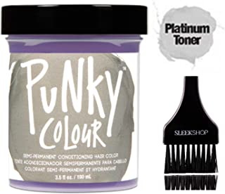 PUNKY COLOUR The Original SEMI-PERMANENT Conditioning Hair Color Dye by Jerome Russell (w/Sleek Tint Brush) Haircolor 3.5 oz / 100 ml (Platinum Blonde Toner)
