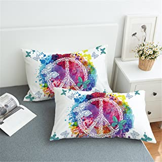 Sleepwish Hippie Butterfly Pillow Case Rainbow Peace Sign Pillow Cover Watercolor Psychedelic 2pc Set of Pillow Cases (20x36)