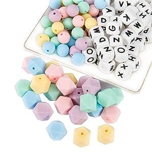 102pcs Silicone Teething Beads Bulk, 52pcs Alphabet Letter Beads & 25pcs Round & 25pcs Hexagon Silicone Beads for Teething, Silicone Teether Beads for Nursing Necklace/Bracelet/Pacifier Chain DIY