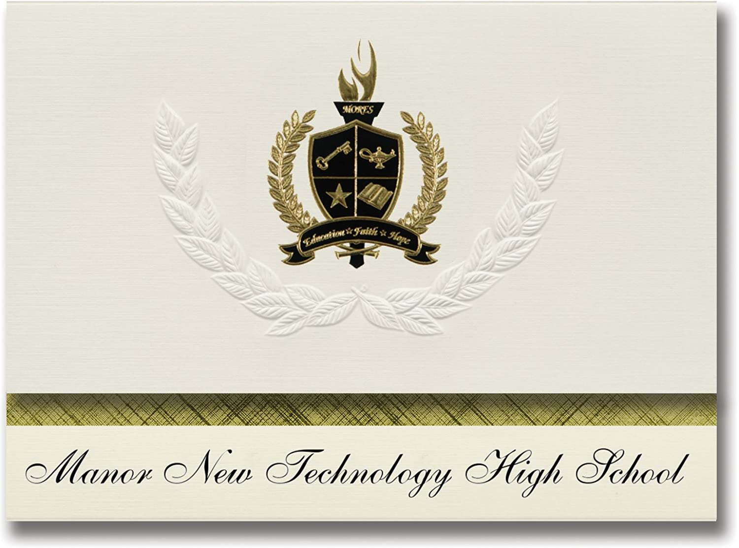 Signature Ankündigungen Manor Neue Technologie High School (Manor, TX) Graduation Ankündigungen, Presidential Stil, Elite Paket 25 Stück mit Gold & Schwarz Metallic Folie Dichtung B078VDQ6T3   | Haltbar