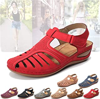 Hollow Closed Toe Sandals for Women-Soft PU Leather...