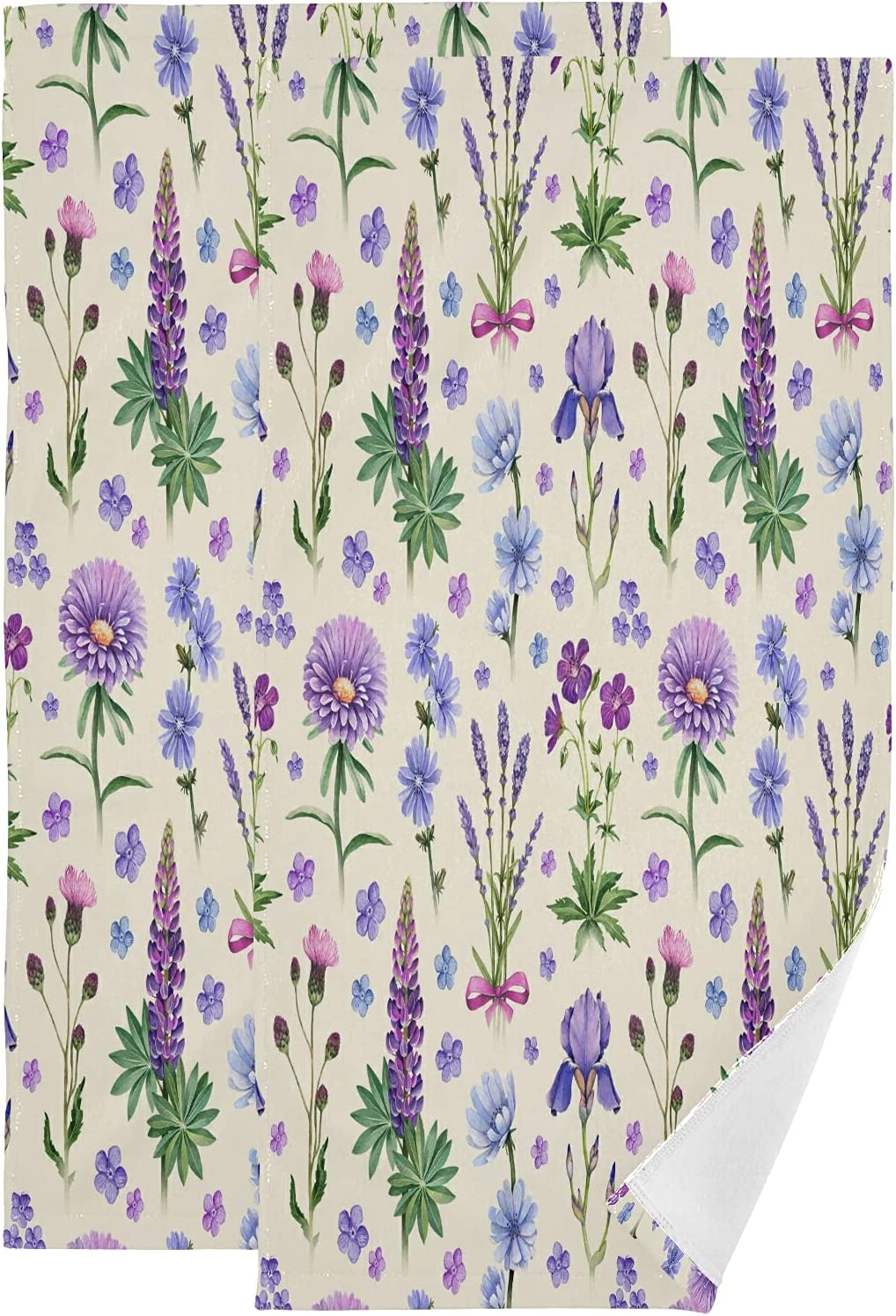ALAZA 35% OFF Watercolor Direct sale of manufacturer Lavender Hand Soft Decorative Towels Absorbent