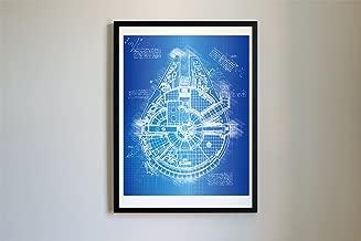 DolanPaperCo #108 Starwars Millenium Falcon Art Print, da Vinci Sketch - Unframed - Multiple Size/Color Options (11x14, Blueprint)