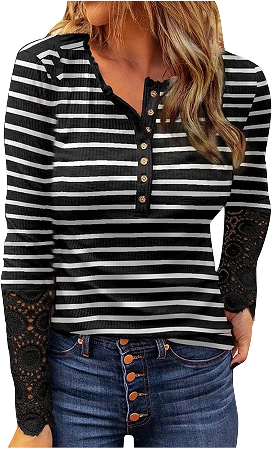 Womens Striped Print Long Sleeve Crewneck Sweatshirts Button Down Knit Pullover Comfy Loose Tunic Streetwear Tops