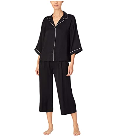 Donna Karan Sleepwear Charmeuse Capris Pajama Set (Black) Women