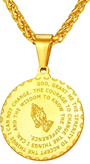 Bible Verse Prayer Necklace Free Chain Christian Jewelry Stainless Steel Praying Hands Coin Medal Pendant