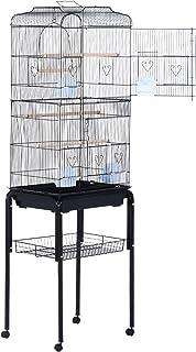 Jaula de Pájaros con 2 Puerta Jaulas para Aves con 4 Ruedas Universales Jaulas para Canarios Loros 47.5×37×153cm Negro
