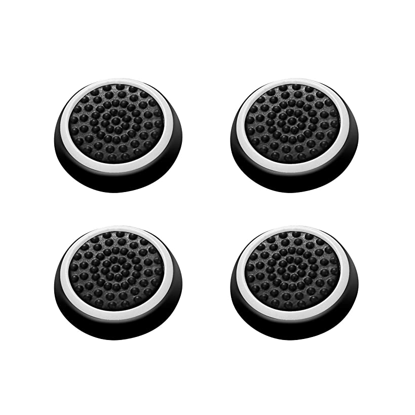 Insten [2 Pair / 4 Pcs] Wireless Controllers Silicone Analog Thumb Grip Stick Cover, Game Remote Joystick Cap for PS4 Dualshock 4/ PS3 Dualshock 3/ PS2 Dualshock/Xbox One/Xbox 360, Black/White