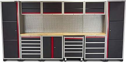 Juego profesional de herramientas con cajones, 405 x 51 x 204 cm, armarios ya montados, banco de trabajo, armario de herra...