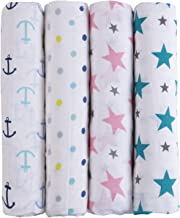 haus & kinder Twinkle Collection Cotton Soft Muslin Swaddle Wrap for Newborn Baby - Pack of 4 (100 x 100 cm, Anchor, Dots, Turquoise, Pink)